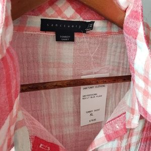 Sanctuary Tops - Sanctuary NWT Plaid Tomboy Shirt Red & Light Blue